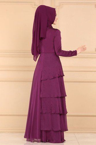 moda selvim Evening Wear 2076PN204 Damson - Thumbnail