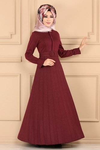 moda selvim Dress 5056EF311 Claret Red - Thumbnail