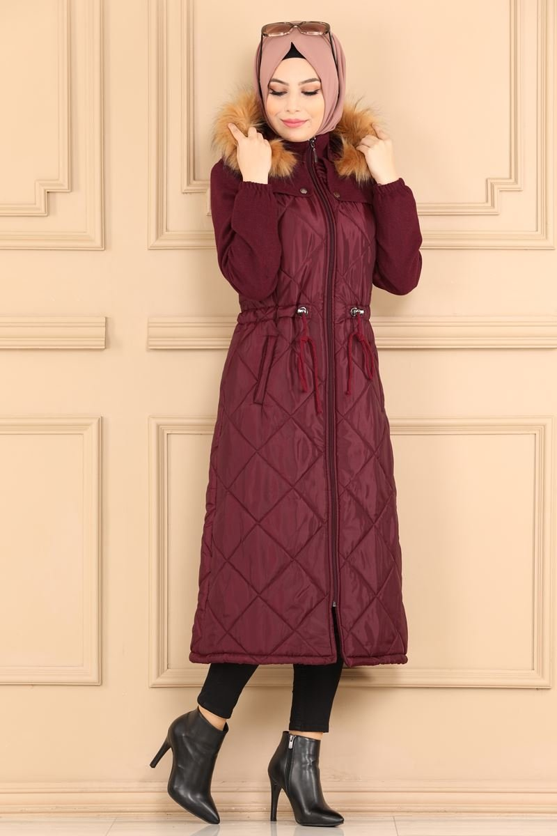 moda selvim Overcoat 2329MS212 Claret Red