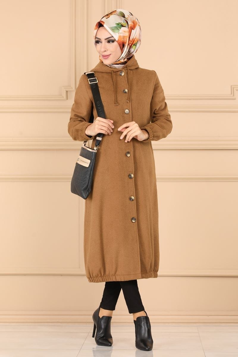 moda selvim Overcoat 5493BS198 Tan